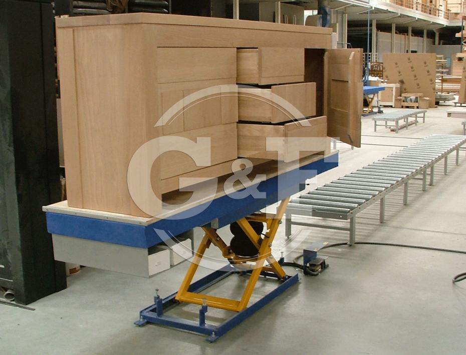 Aplicação mesa elevatória pneumática Setor montagem