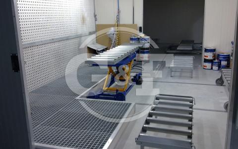 Aplicação mesa elevatória pneumática rotativa Setor pintura